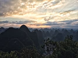 TV Tower Hike Yangshuo at sunset